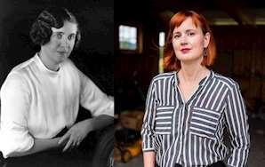 I färgbild författaren till romanen Bakvatten Maria Broberg och i svartvit författaren till I som här inträden Astrid Väring.