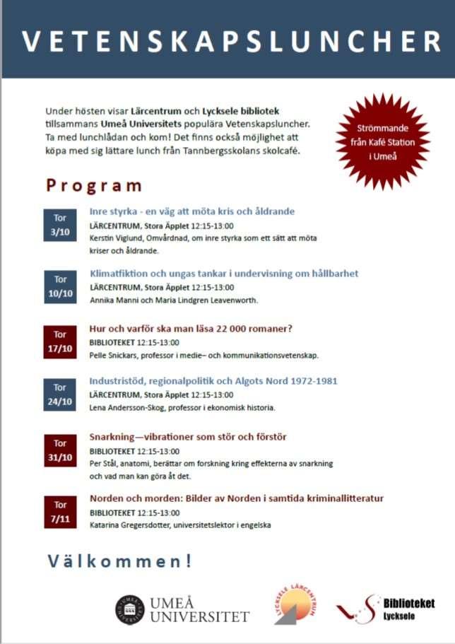 Affisch med program för streamade vetenskapsluncher i Lycksele