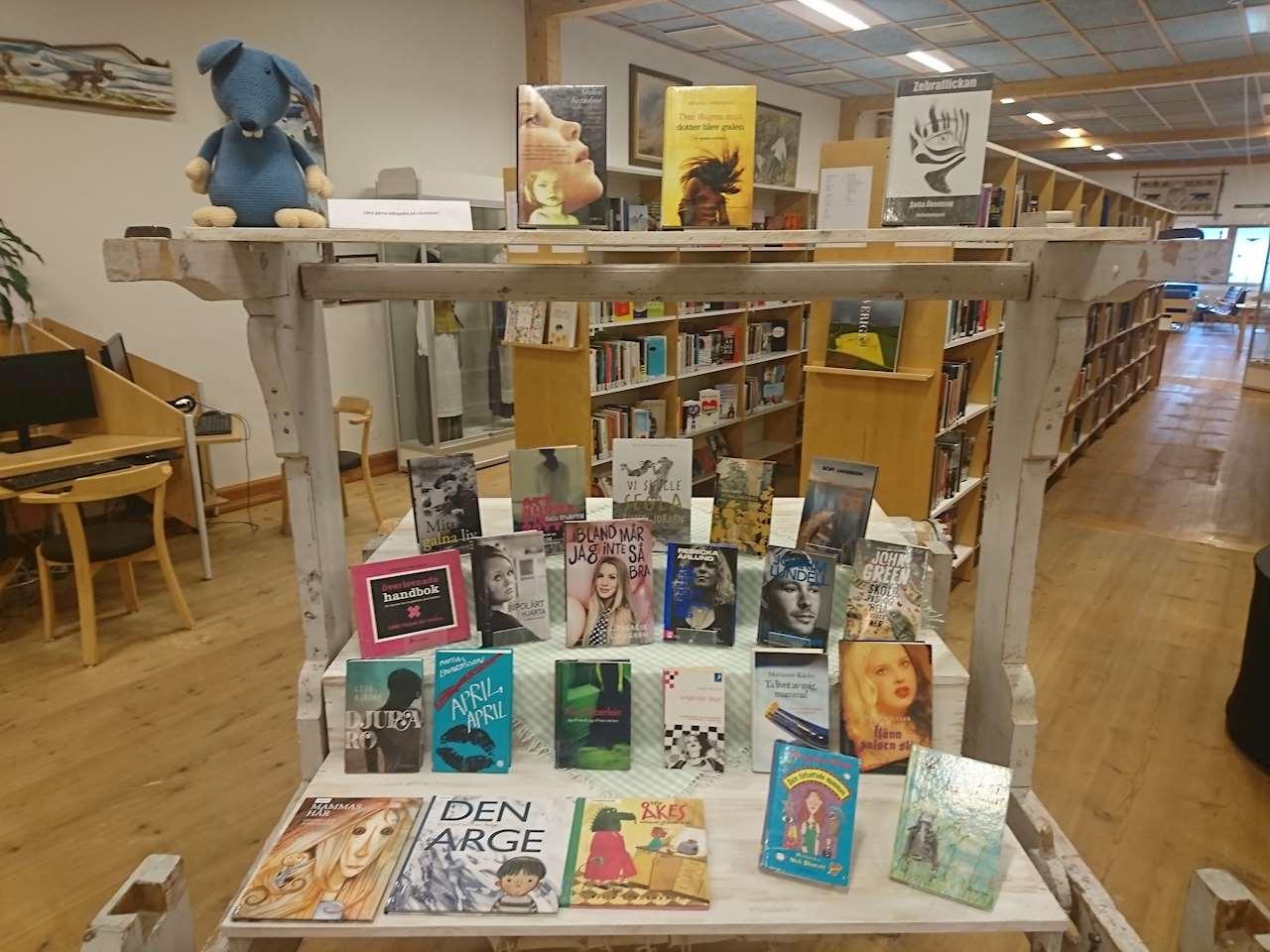 Böcker på temat Psykeveckan på Sorsele biblioteks vävstol