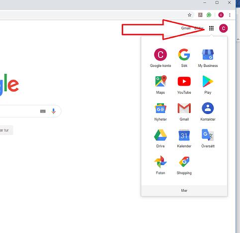 Pil pekar på fyrkantig ikon med prickar som ger åtkomst till Googles tjänster.