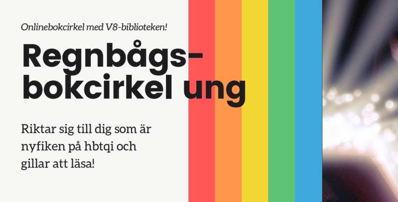 Svart text mot vit bakgrund. Lodräta ränder i rött, orange, gult, grönt och blått. Glitter längst till höger.